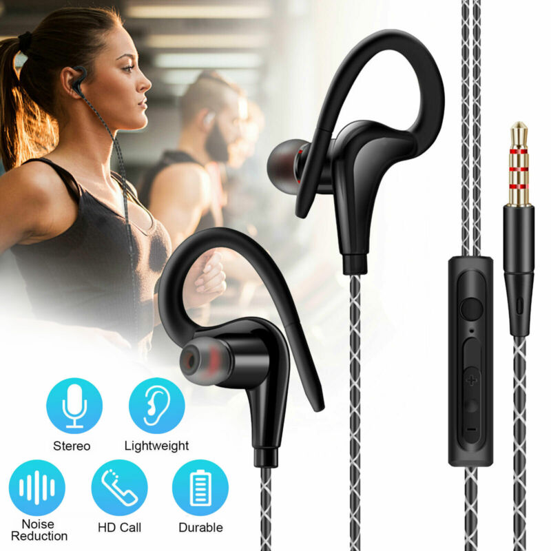 $7.27 • Buy In-Ear Wired Sport Running Earphone Earbuds Over Ear Hook Headphone 3.5mm W/MIC