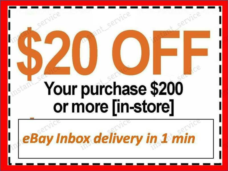 $2.49 • Buy One~1x~ Home Depot Coupon $20 OFF $200 InStoreOnly ~~ LNSTANT~FAST~SENT-1min