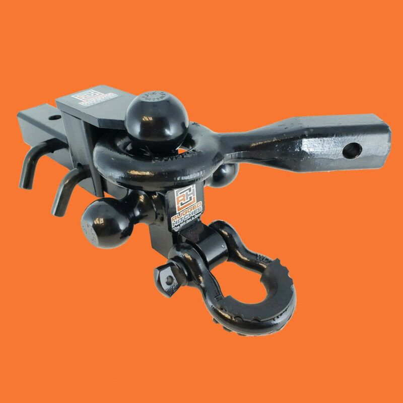 Adjustable Trailer Hitch, Triple Tri-ball Mount Pintle Hook D-ring, 2  Receiver • 99$