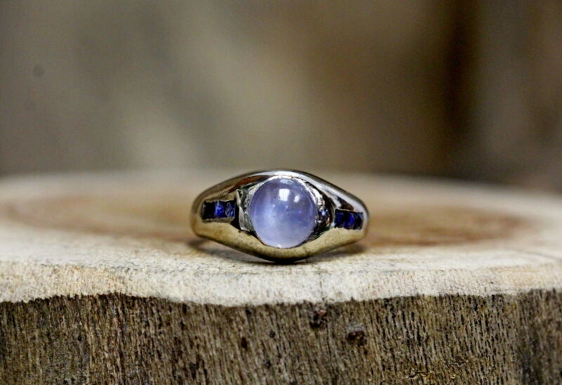 $375 • Buy 14Kt White Gold Moonstone And Sapphire Men's Ring Size 7