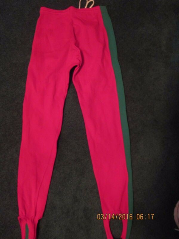 Pro Wrestling Red Tights/Green Strips Size Small-Maker K&H-Drawstring  • 75.49$