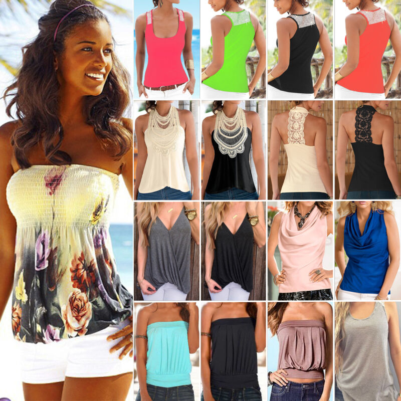AU10.92 • Buy Womens Sleeveless Tank Tops Vest Summer Ladies Casual Beach T-Shirt Blouse Tee