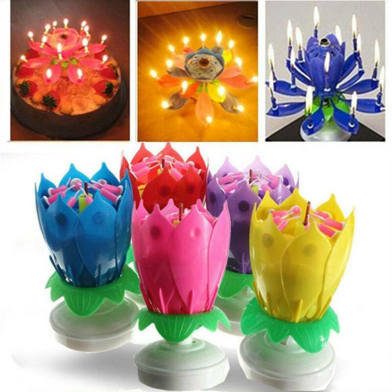 $ CDN3.06 • Buy Magic Cake Birthday Lotus Flower Candle Decoration Blossom Musical Rotating Gift