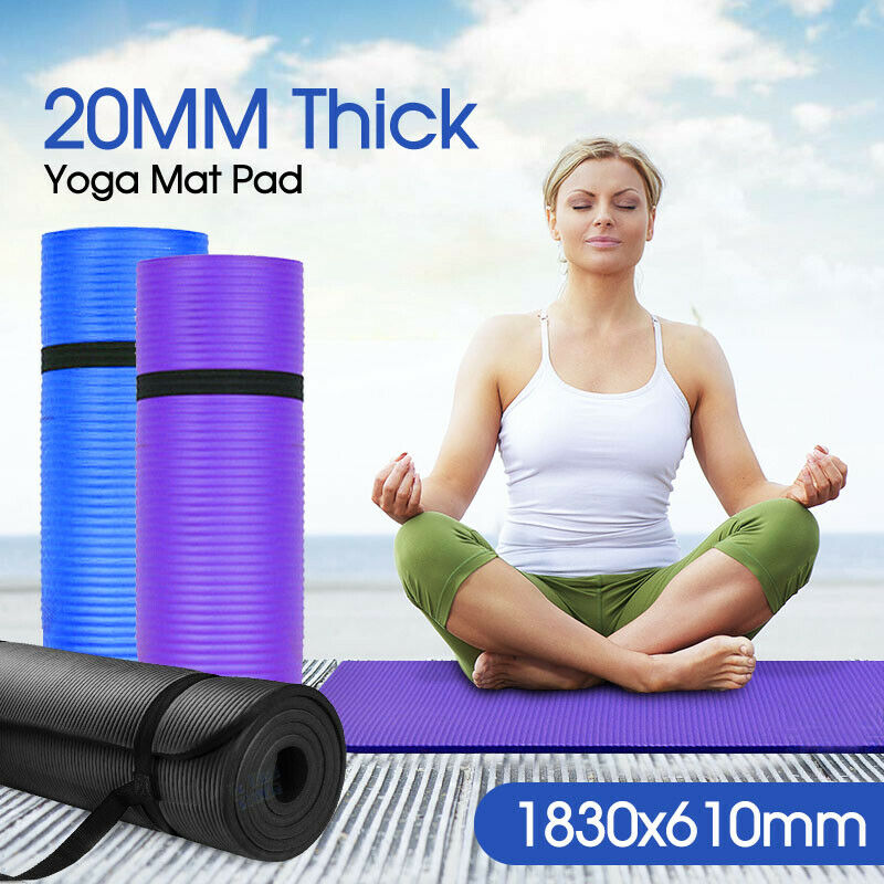 AU25.95 • Buy 20MM Thick Yoga Mat Pad NBR Nonslip Exercise Fitness Pilate Gym Durable AU