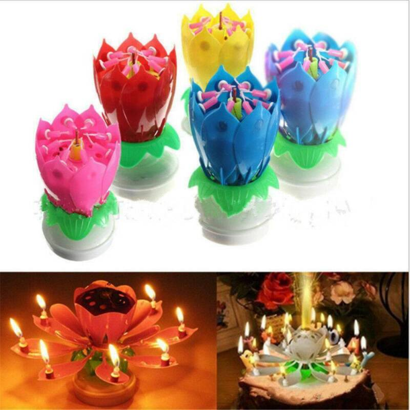 $ CDN3.22 • Buy Musical Birthday Cake Candle Lotus Flower Floral Rotating Candle