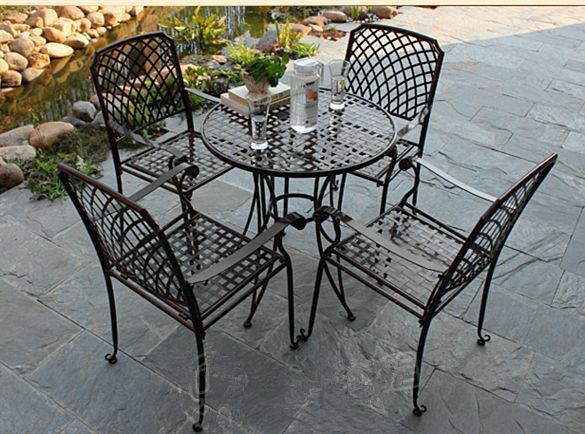 AU235 • Buy INDOOR OUTDOOR TABLE CHAIRS PATIO SETTING Metal Garden Balcony Cafe Black Square