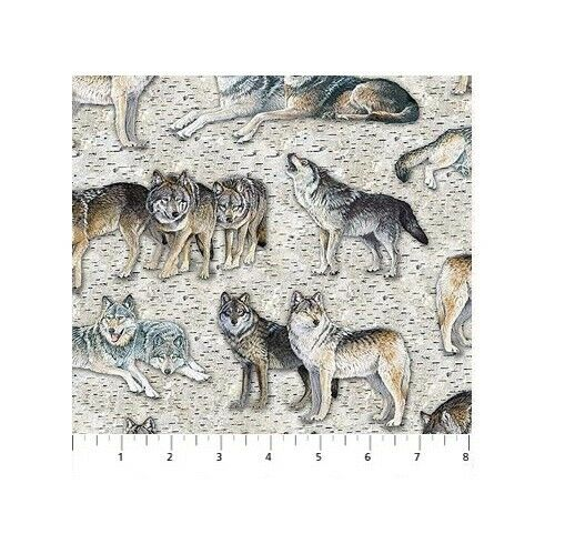 Naturescapes Digital Fabric - Resting Point Wolf On Bark Print - Northcott YARD • 10.49$