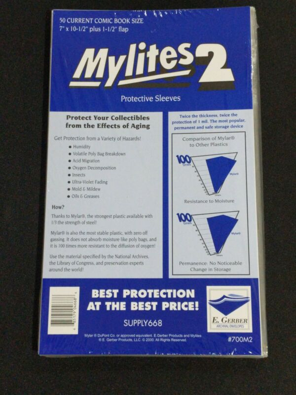 $16.99 • Buy 50 - E. GERBER MYLITES 2 CURRENT / MODERN 2-Mil Mylar Comic Bags Sleeves 700M2