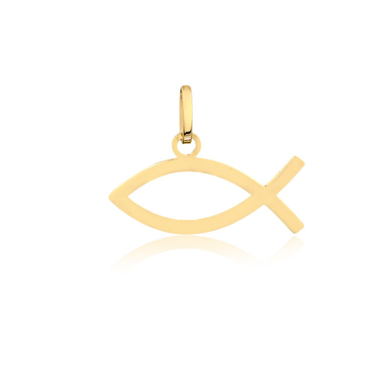 18k Solid Yellow Gold Christian Fish Pendant/Charm For Necklace For Women Men  • 38$
