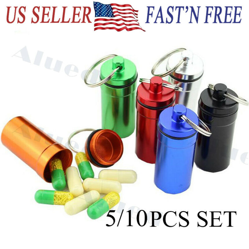 $5.69 • Buy 5/10PCS Pill Box Keychain Medicine Case Bottle Drug Holder Container Waterproof