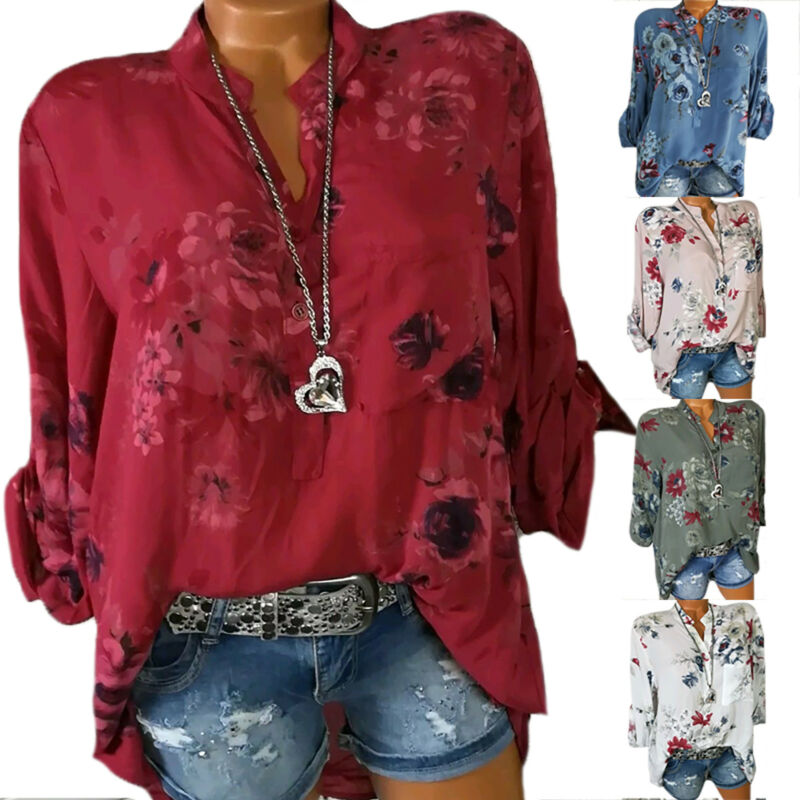 AU13.86 • Buy Boho Floral Womens Long Sleeve Loose Blouse Tops Casual Baggy T-Shirt Plus Size