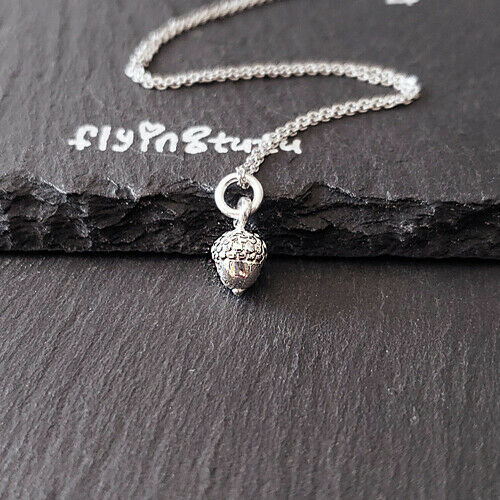 Sterling Silver 3D Tiny Acorn Pendant Necklace 18   • 20$
