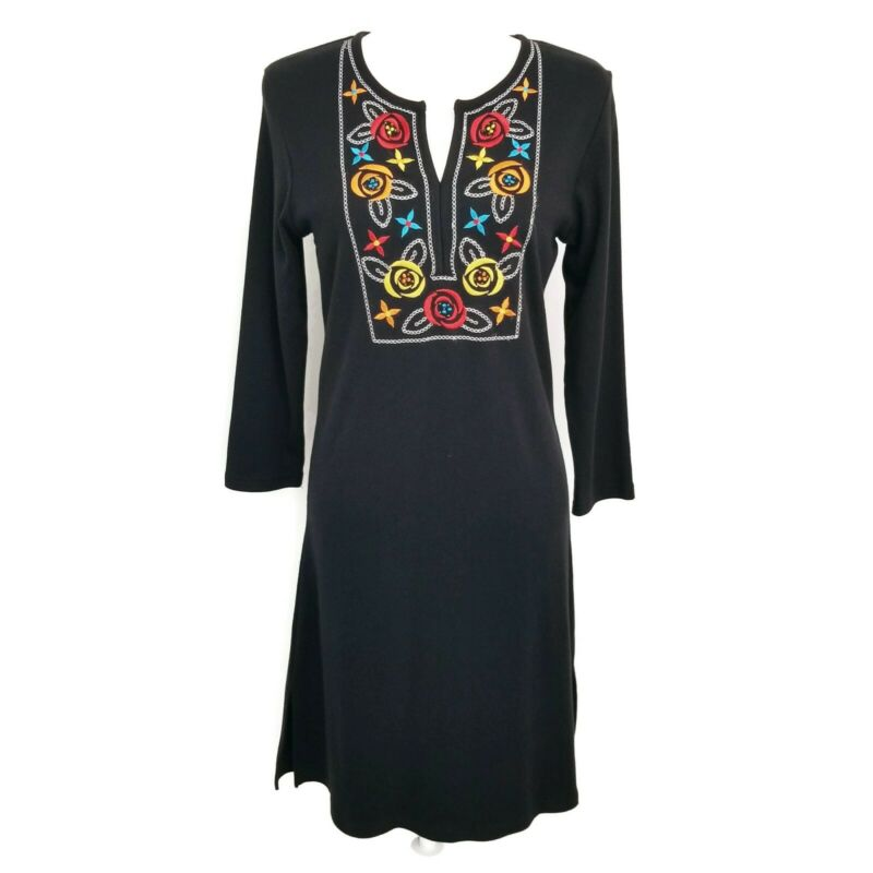 $19.79 • Buy Island Clothing Company S Small Shift Dress Black Floral Embroidery Stretch