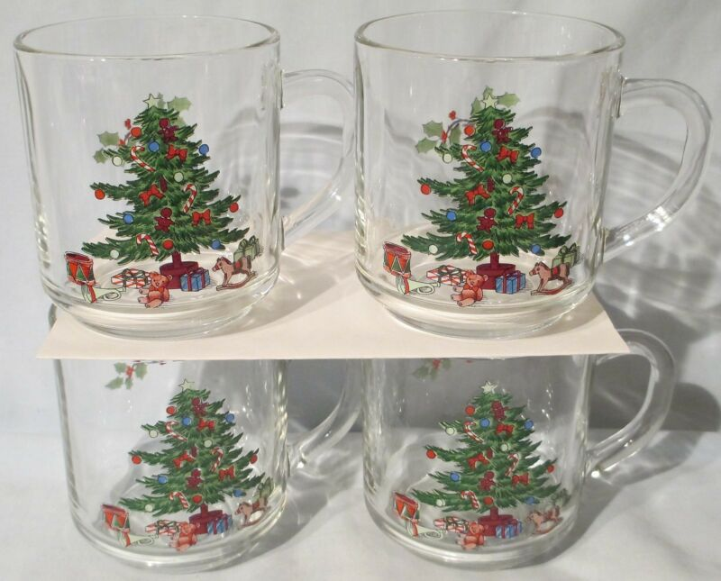 $12.89 • Buy Tienshan Holiday Hostess Glass Coffee Mug Set Of 4