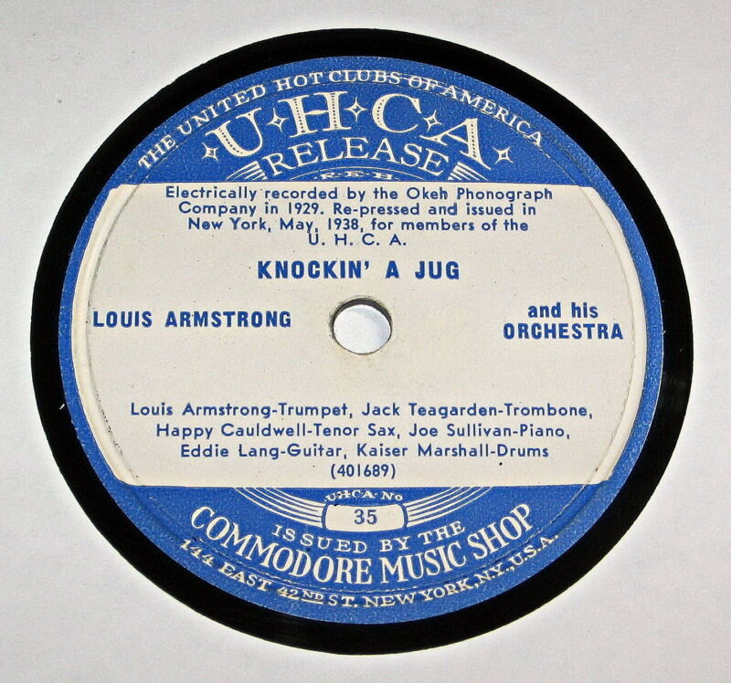Louis Armstrong 78 Jazz Record  Knockin A Jug & Anything But Love  Uhca 35 / 36 • 6.99$
