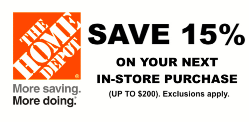 $13.50 • Buy ONE 1X 15% OFF Home Depot Coupon - In Store ONLY Save Up To $200 Speedy Ship