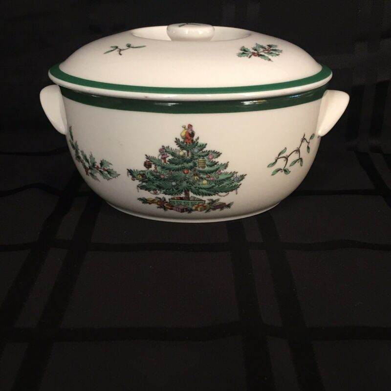 $24.99 • Buy SPODE CHRISTMAS TREE Casserole Dish 1.5 Quart With Lid - Made In England