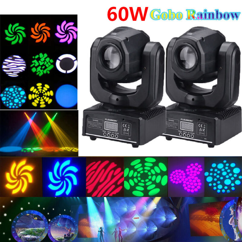 2PCS 60W RGBW SPOT Gobo LED Stage Lights Moving Head DMX Disco DJ Party Lighting • 153.89$