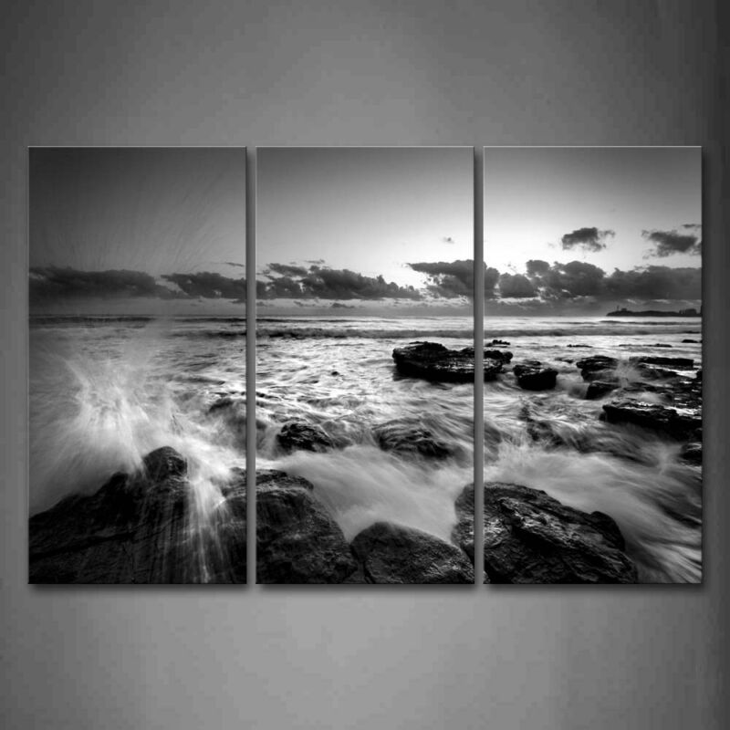 $47.49 • Buy Framed Black White Seascape Wave Wall Art Painting Pictures Canvas Print Picture