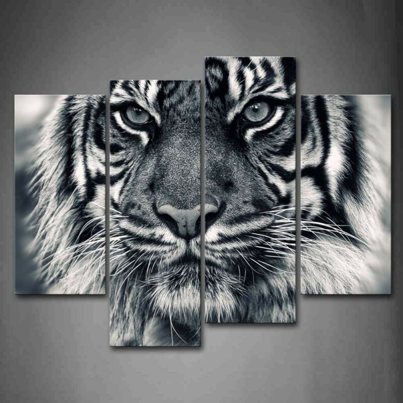 $47.49 • Buy Framed Black White Ferocity Tiger Canvas Print Wall Art Painting Animal Picture