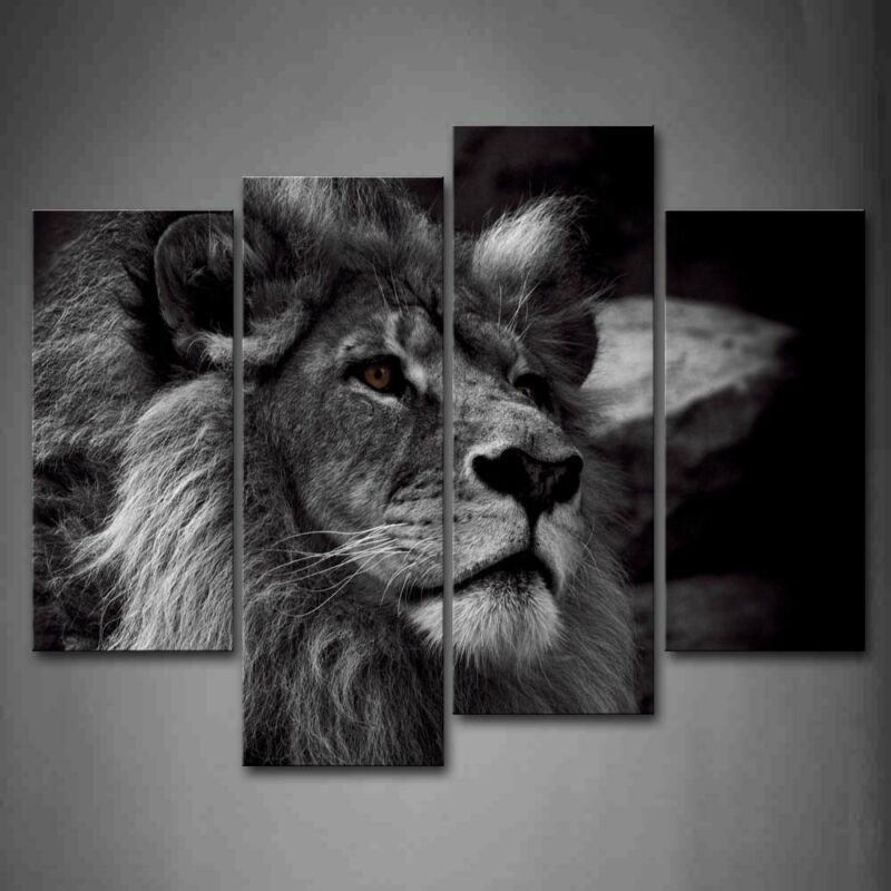 $47.49 • Buy Framed Black And White Gray Lion Portrait Canvas Print Wall Art Painting Picture