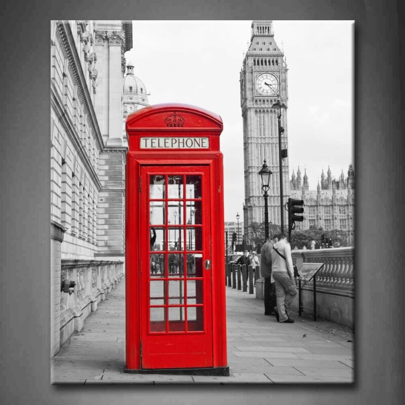 $43.69 • Buy Framed Black White And Red London City Canvas Print Wall Art Painting Picture