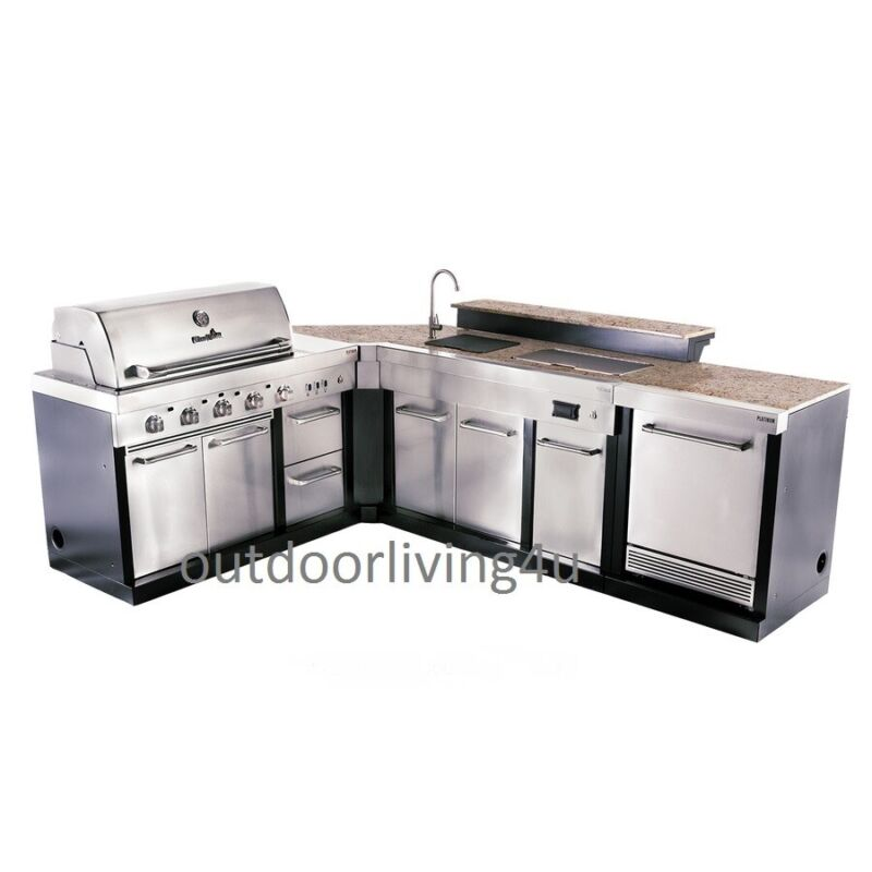 Ultimate Outdoor Kitchen W/ GRILL, SINK, REFRIGERATOR, GRANITE, BAR TOP, + More! • 4,992.90$