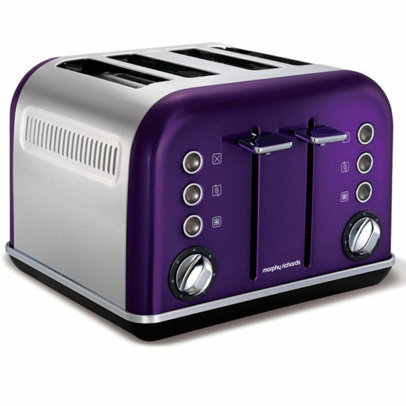 AU89 • Buy Morphy Richards 242022 Plum Chrome Accents Stainless Steel 4 Slice Toaster