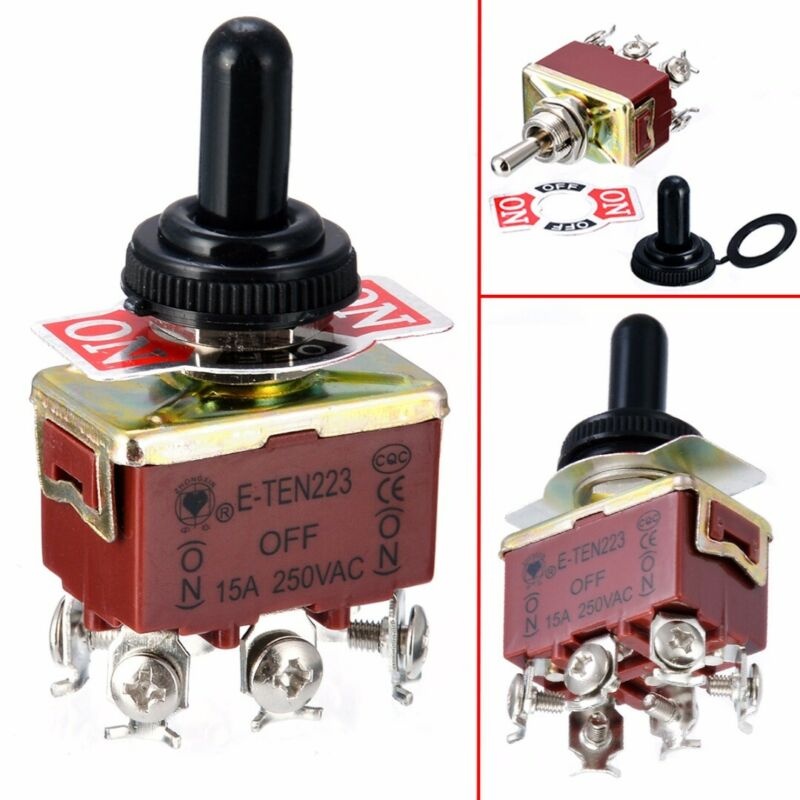 6 Pins Toggle Switch 3 Position Momentary ON-OFF-ON Reverse Polarity & Cap Kit • 5.59$