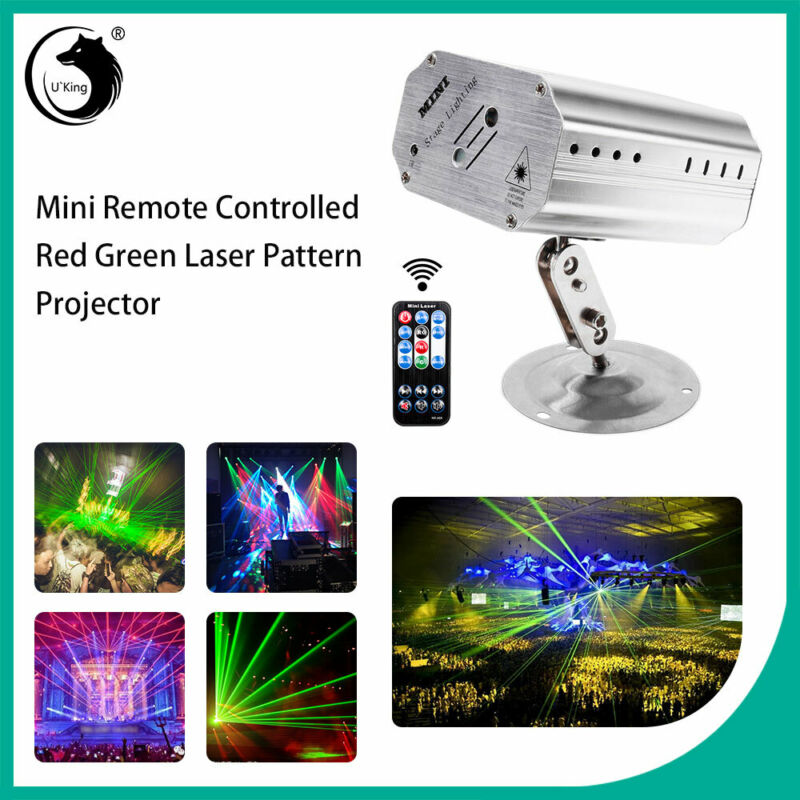 Pattern Laser Projector Stage Lights Mini LED R&G Lighting Party Disco DJ+Remote • 18.89$