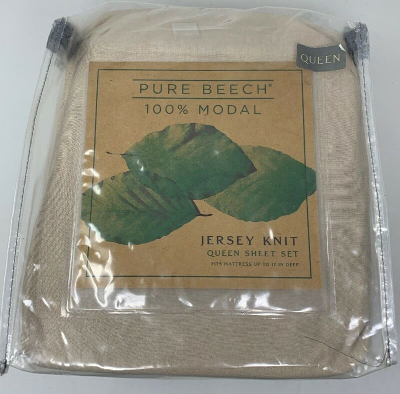 Pure Beech Jersey Knit Modal Queen Sheet Set In Taupe 17  Deep • 56.09$