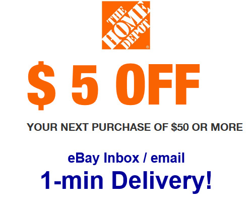 $0.99 • Buy Home Depot $5 OFF $50 Promo.1Coupon In-store Only-Not 10 15 20-sent In 1 Min!