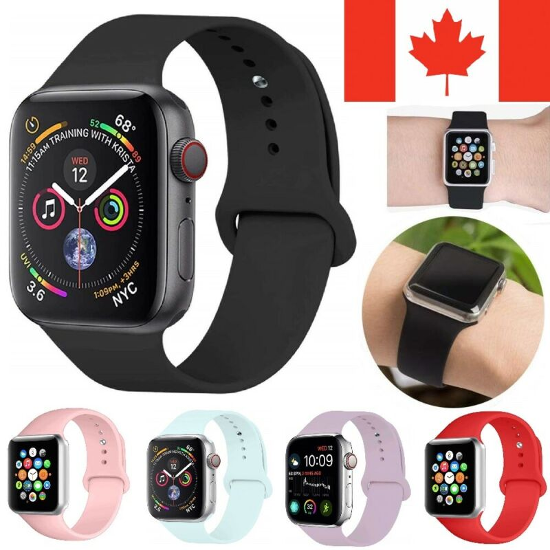 $ CDN5.99 • Buy Replacement Silicone Sport Band Strap For Apple Watch 38/40/42/44mm Series 5/4/3