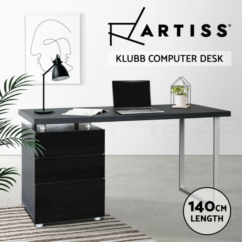 AU159 • Buy Artiss Office Computer Desk Study Table Home Metal Student Drawer Cabinet Black
