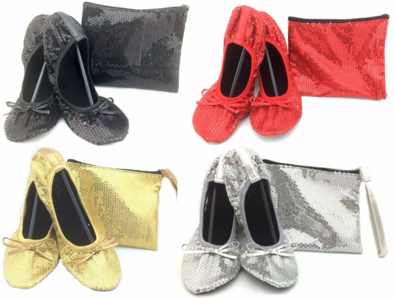 Shoes 18 Women's Foldable Sequins Ballet Flat Shoes W/ Matching Carrying Case • 11.99$