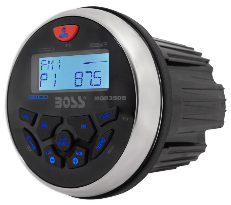 $77.90 • Buy Boss Audio MGR350B 3  Gauge Hole Marine Bluetooth MP3 Stereo Radio Boat Receiver