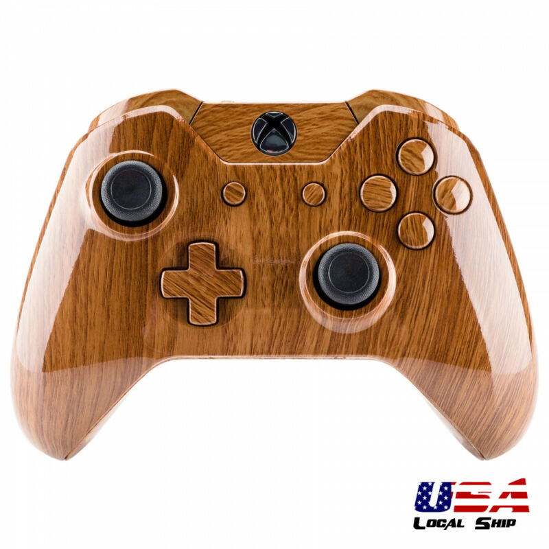 Full Housing Shell Button Kit For Xbox One Controller W/3.5 Mm Jack Wooden Grain • 13.79$
