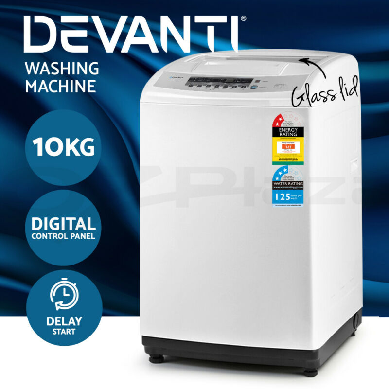 AU529 • Buy Devanti Top Load Washing Machine 10kg Top Loader Automatic Laundry Washer Smart