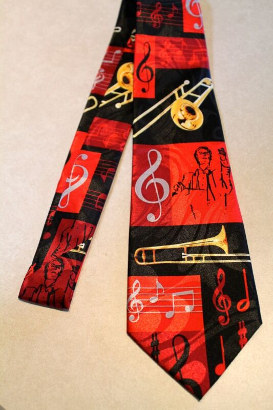 Trombone's / Musical Notes On A Black Polyester Neck Tie !Harris 58'' L 3.8 W • 11.99$