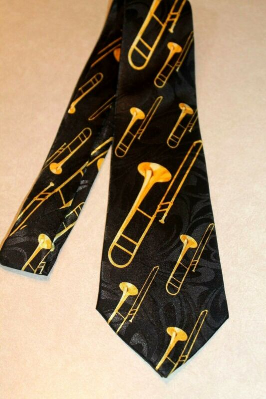 Big Brassy Trombone's On A Brand New Black 100% Polyester Neck Tie !#1 Free Ship • 11.99$