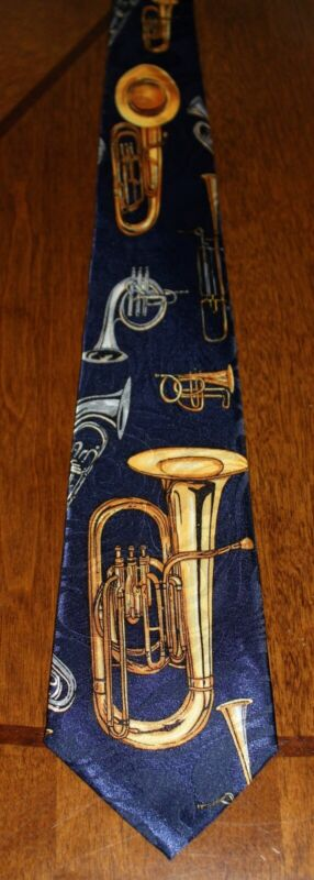 Brass Instrument Tie Music Mens Trombone Trumpet 100% Polyester Neck Ties • 11.99$