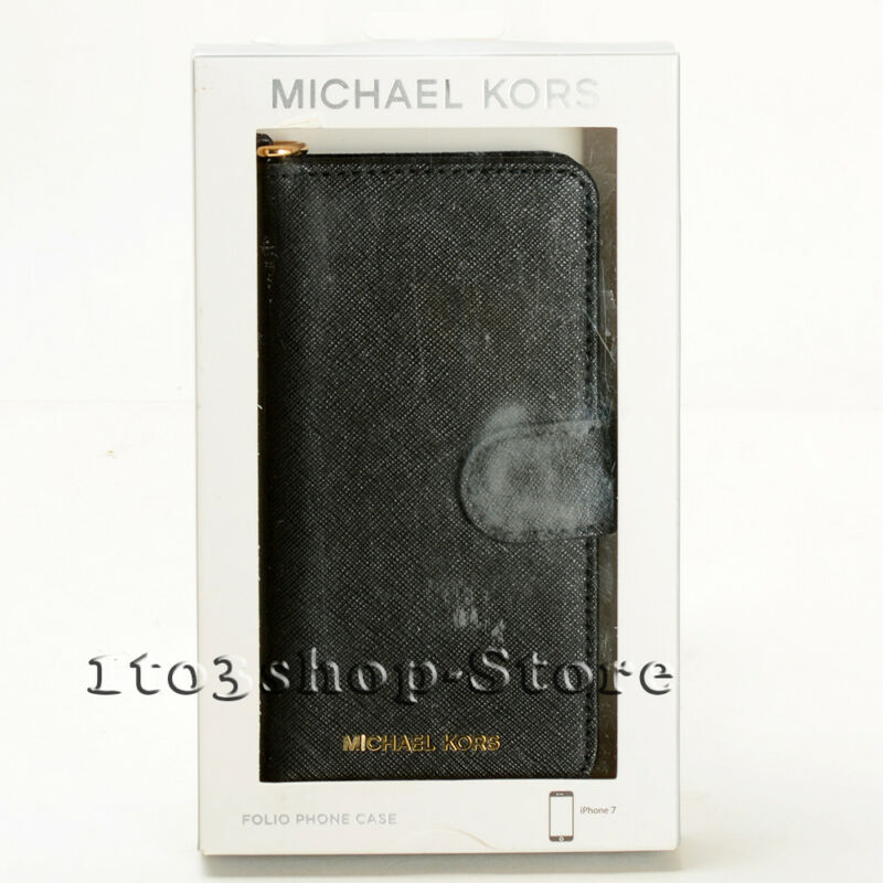 b03791eebca3 Michael Kors IPhone 7 IPhone 8 Saffiano Leather Folio Case W/Card Pocket -  Black