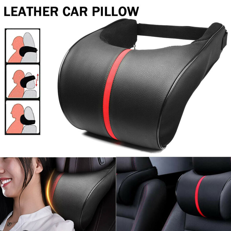 $9.99 • Buy Leather Car Seat Neck Pillow Auto Memory Foam Headrest Travel Cushion Black+Red
