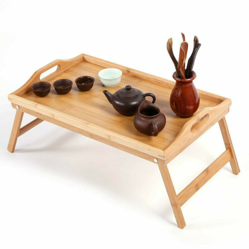 $15.99 • Buy Bamboo Wood Bed Tray Laptop Desk Breakfast Food Serving Table Stand Foldable US
