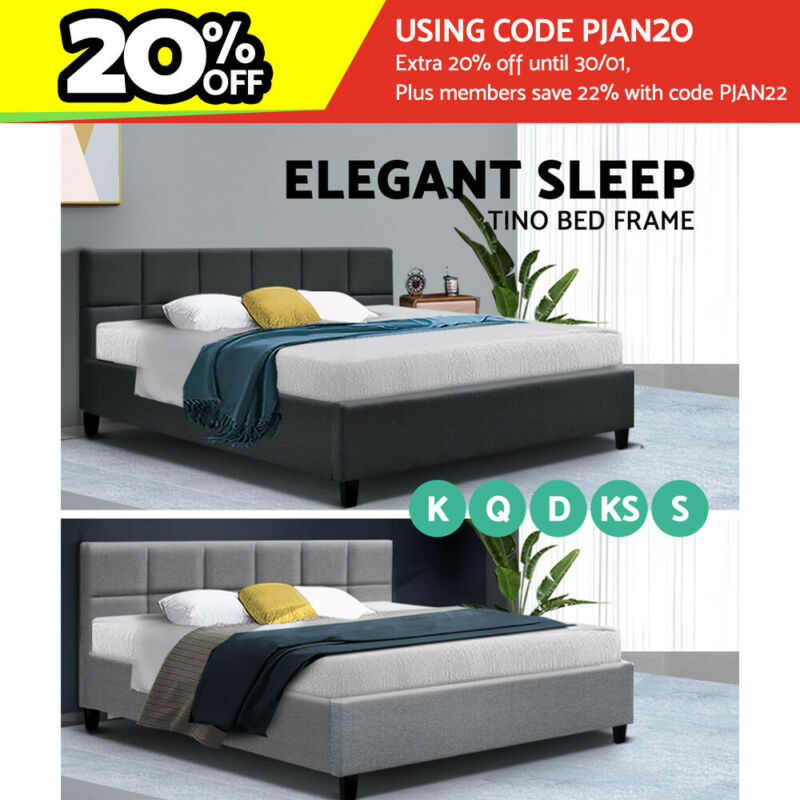 AU149 • Buy Artiss Bed Frame King Single Double Queen Size Base Platform Fabric Wooden
