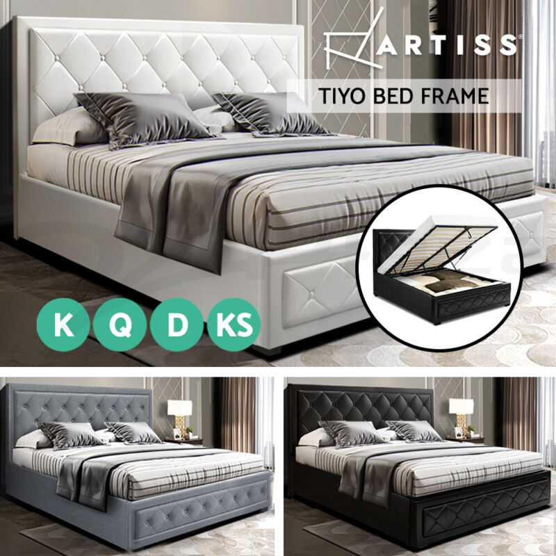 AU309 • Buy Artiss Bed Frame King Single Double Queen Size Gas Lift Base With Storage