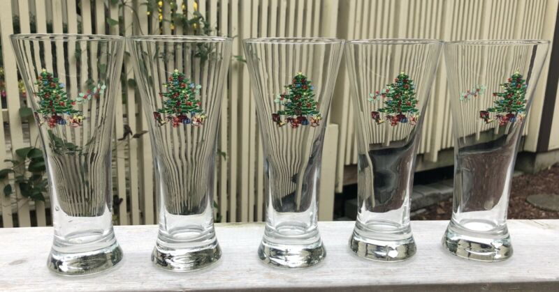 $20 • Buy Set Of 5 Tienshan Pilsner Beer Glasses Holiday Hostess Christmas Tree Design