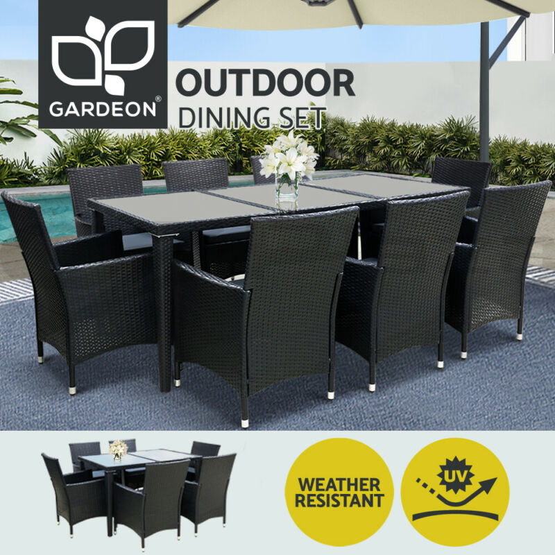 AU339 • Buy Gardeon Outdoor Furniture Dining Set Table Chairs Patio Setting Wicker 5/7/9 PCS