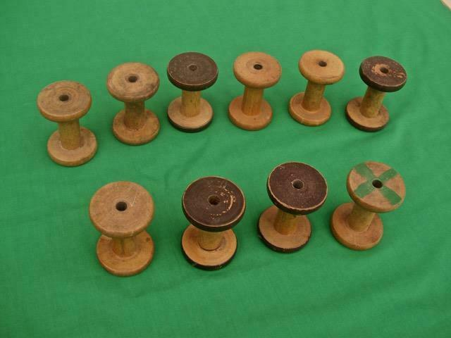 $48.99 • Buy 10 Antique Wooden Thread Spools Bobbin Spindles Industrial Textile Mill