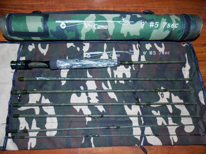 $84.95 • Buy 5WT Camo Fly Fishing Rod Traveller 9FT 7PC.  & Rod Tube FREE 3 DAY DELIVERY